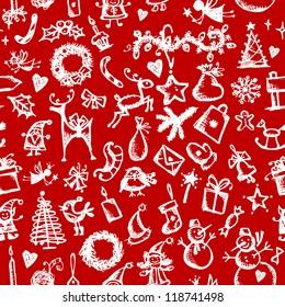 Christmas seamless sketch for your design