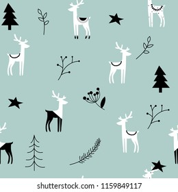 Christmas seamless strip pattern. Scandinavian motives. Nordic ornament with deer. Vector eps file. Mint background.