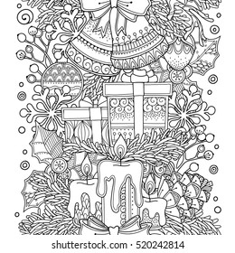 Christmas seamless vector border in doodle style. Floral, ornate, decorative, tribal, design elements. Black and white background. Christmas decor, presents. Zentangle coloring book page