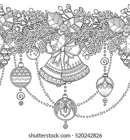 Christmas seamless vector border in doodle style. Floral, ornate, decorative, tribal, design elements. Black and white background. Christmas decor, garlands. Zentangle coloring book page