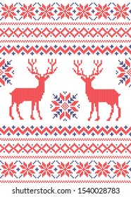 Christmas seamless vector knitted pattern