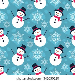 Christmas Seamless Vector Pattern. Contain flat snowman illustration. Great for wrapping paper and wallpapers.