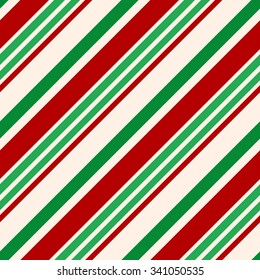 Christmas Seamless Vector Pattern. Contain candy cane stripes in red, green and cream colors. Great for wrapping paper and wallpapers.