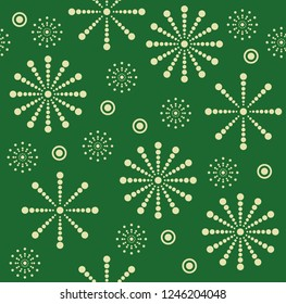 Christmas seamless vector pattern with different snowflakes