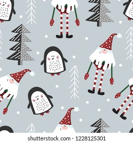 Christmas seamless vector pattern with funny penguins and gnome.