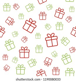 Christmas seamless vector pattern with gift boxes. Wrapping paper design