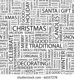 CHRISTMAS. Seamless vector pattern with word cloud. Illustration with different association terms.