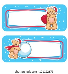 Christmas Season Banner, Winter Labels with Teddy Bear.
