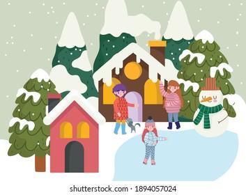 christmas season people snowman village houses trees snow cartoon, winter time vector illustration