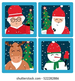 Christmas selfie cards of Santa Claus, mrs Claus, deer and snowman.