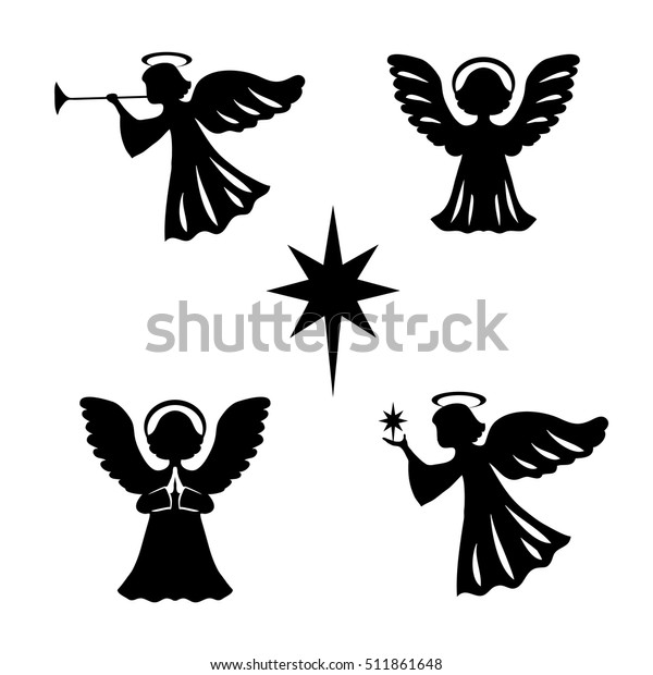 Christmas set from angels and star of Bethlehem. Vector illustration.