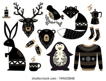 Christmas set of animals in scandinavian style