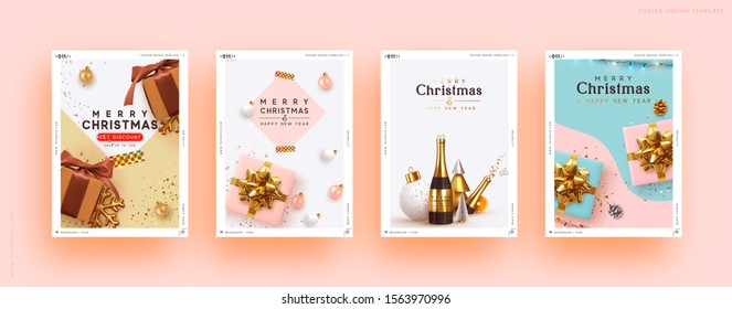 Christmas set backgrounds with realistic decorative objects. Xmas decoration gift box, bauble ball, golden confetti, 3d design elements. New year poster, banner. Advertising flyer brochure. soft color