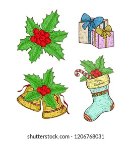 Christmas set. Bell, candy, gift, holly. Sketch. Color