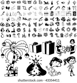 Christmas set of black sketch. Part 103-36. Isolated groups and layers.