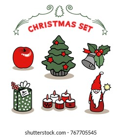 Christmas set with candles and gifts in vector graphic images