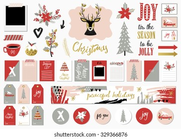 Christmas Set with Cards, Notes, Stickers, Labels, Stamps, Tags with winter and christmas Illustrations and Wishes. Template for Greeting Scrap booking, Congratulations, Invitations.