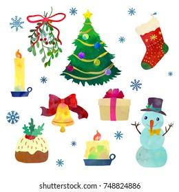 Christmas set. Cartoon clip art illustration on isolated background. Watercolour imitation.
