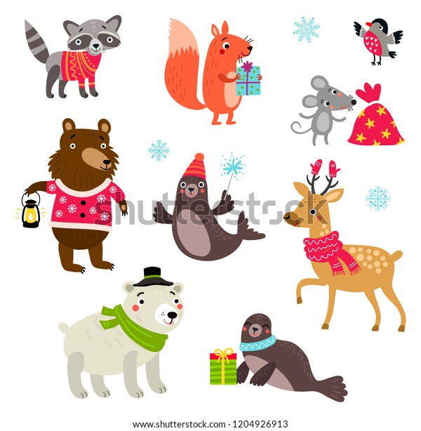 Christmas set of characters, cute animals