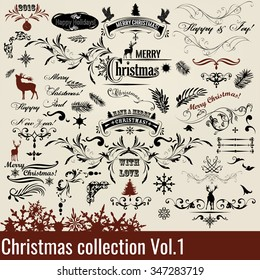 Christmas set or collection of calligraphic and decorative elements with signatures for design