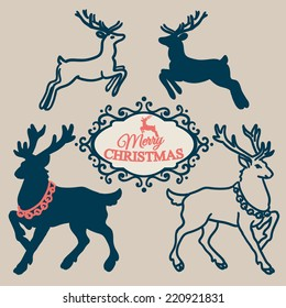 Christmas set - collection of Christmas calligraphic and typographic design with labels, symbols and elements and Christmas reindeer. Vector illustrations.