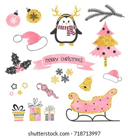 Christmas set. Collection of xmas elements for greeting card design in pink, black and golden colors. Vector illustration.