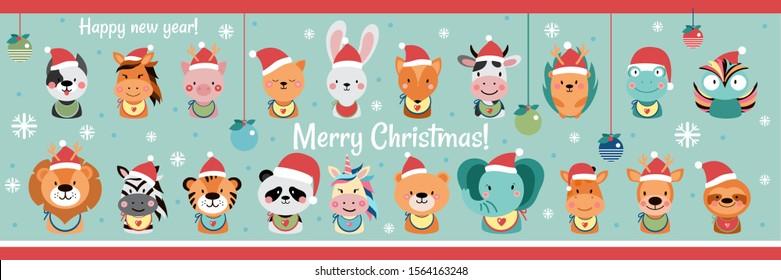 Christmas set of cute animals with accessories. Greeting cards. Happy new year! Lion, zebra, tiger, panda, elephant, bear, unicorn, giraffe,dog, cat, cow, pig, deer, fox,horse, bunny. - Vector