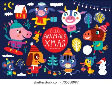 Christmas set with cute animals on a dark-blue background. Childish vector illustration. Winter outdoor activity.