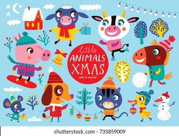 Christmas set with cute animals on a blue background. Childish vector illustration. Winter outdoor activity.