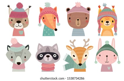 Christmas set with Cute forest animals. Hand drawn woodland characters. Vector illustration.