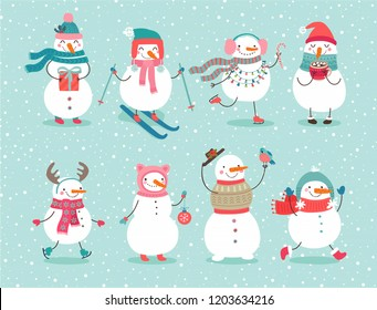 Christmas set with cute snowmen. Funny characters with garland, gift, bird, skates, ski and christmas balls.