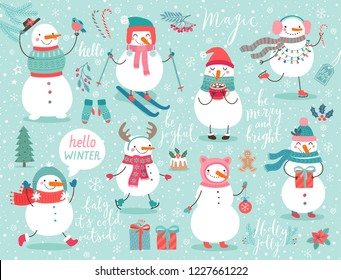 Christmas set with cute snowmen and other elements. Funny characters with garland, gift, bird, skates, ski and christmas balls.