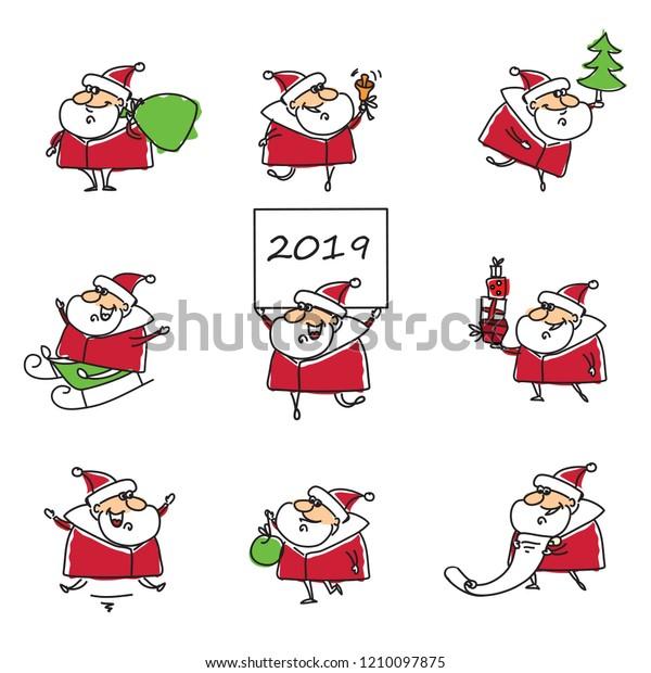 Christmas Lists For 2019.Christmas Set Different Santa Clauses Christmas Stock Vector