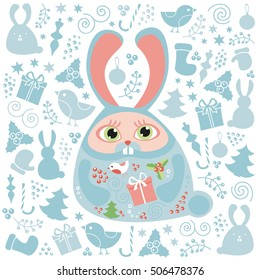 Christmas set of doodle design elements, vector Merry Christmas greeting card template. Winter holiday pattern, cute childish rabbit.