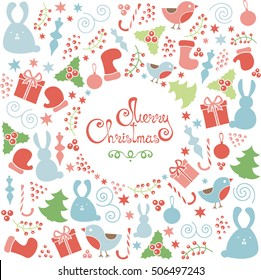 Christmas set of doodle design elements, vector Merry Christmas greeting card template. Winter holiday pattern, lettering in circle