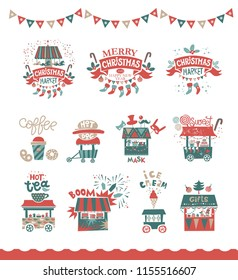 Christmas set with Christmas emblems, logotypes, food  trucks and gift shops. Merry Christmas and happy New year emblem, sign. Carousel with horses, garlands, gifts, trees, socks, masks, sweets