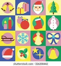Christmas. Set of flat icons.