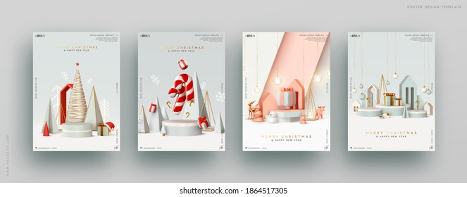 Christmas set gift card. Festive winter 3d composition. Realistic stage, podium, Xmas studio. Minimal New year background. Modern Creative holiday template. Banner and poster, cover and brochure