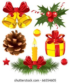 Christmas set with gold bells and other