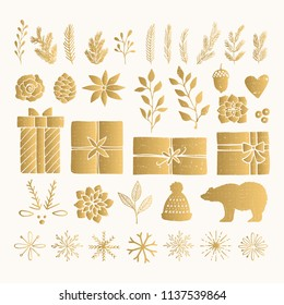 Christmas set of golden decorative elements. Hand drawn vector branches, gift boxes, snowflakes.