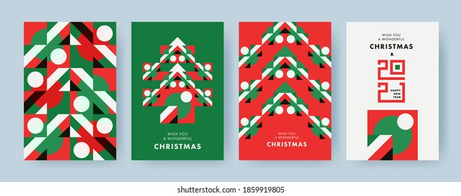 Christmas Set of greeting cards, posters, holiday covers. Geometric Xmas design with stylized Christmas Tree made of geometric shapes and New Year 2021 logo text design in red, green, white colors