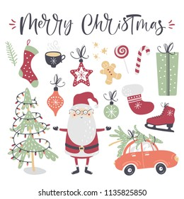 Christmas set, hand drawn style. Calligraphy, santa, Christmas tree and other elements. Vector illustration.