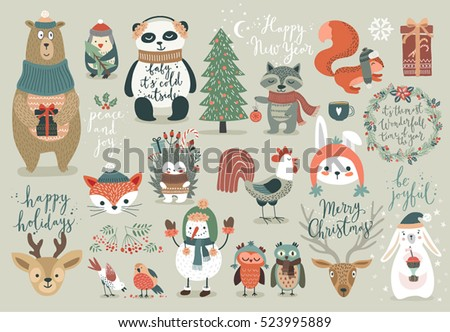 Christmas Set Hand Drawn Style Calligraphy Stock Vector (Royalty ...