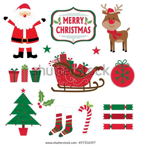 Christmas set with icon Christmas