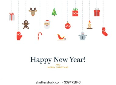 Christmas set of icons and elements, tree, deer, present, stocking, mitten and Santa. Vector Christmas Card with Happy New Year lettering