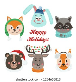 Christmas set with isolated face animals. Vector illustration for your design