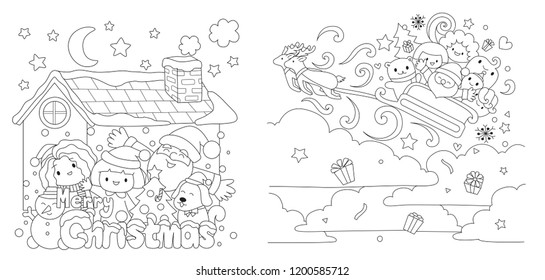 Christmas set, Kids and Santa Clause enjoy Christmas even for printed cards, invitation, engraving, t shirt and coloring book page for anti stress.