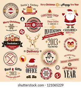 Christmas set - labels, emblems and other decorative elements. Vector illustration.