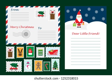 Christmas set of letter from Santa Claus, envelope and postage stamps for children, fun preschool activity for kids, vector illustration