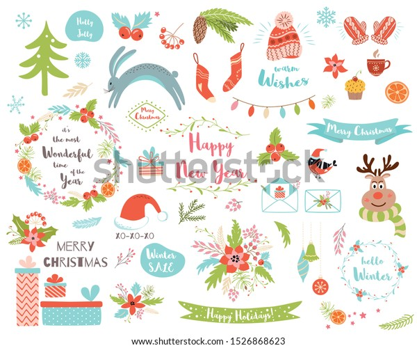 christmas set new year clipart elements stock vector royalty free 1526868623 https www shutterstock com image vector christmas set new year clipart elements 1526868623